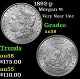 1892-p Morgan Dollar $1 Grades Choice AU/BU Slider