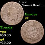1822 Coronet Head Large Cent 1c Grades g+
