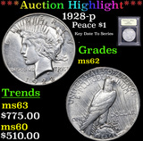***Auction Highlight*** 1928-p Peace Dollar $1 Graded Select Unc By USCG (fc)