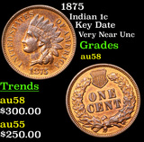 1875 Indian Cent 1c Grades Choice AU/BU Slider