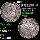 1833 Capped Bust Dime 10c Grades vf++