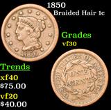 1850 Braided Hair Large Cent 1c Grades vf++