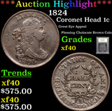 ***Auction Highlight*** 1824 Coronet Head Large Cent 1c Graded xf By USCG (fc)