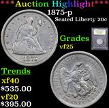 ***Auction Highlight*** 1875-p Twenty Cent Piece 20c Graded vf+ By USCG (fc)
