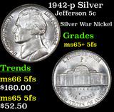 1942-p Silver Jefferson Nickel 5c Grades GEM+ 5fs
