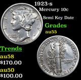 1923-s Mercury Dime 10c Grades Choice AU