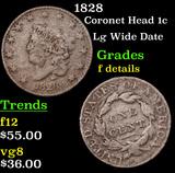 1828 Coronet Head Large Cent 1c Grades f details