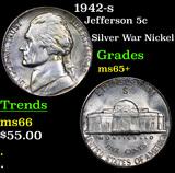 1942-s Jefferson Nickel 5c Grades GEM+ Unc