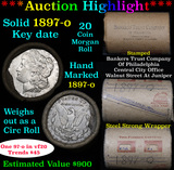 ***Auction Highlight*** Full solid date 1897-o Morgan silver dollar roll, 20 coins   (fc)