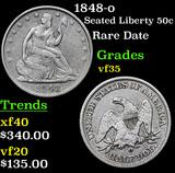 1848-o Seated Half Dollar 50c Grades vf++