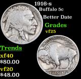1916-s Buffalo Nickel 5c Grades vf+