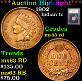 ***Auction Highlight*** 1902 Indian Cent 1c Graded Select Unc RD By USCG (fc)
