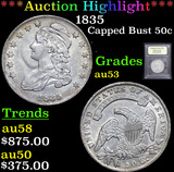 ***Auction Highlight*** 1835 Capped Bust Half Dollar 50c Graded Select AU By USCG (fc)