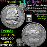 ***Auction Highlight*** 1892 Columbian Old Commem Half Dollar 50c Graded Select Unc+ PL By USCG (fc)