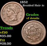 1852 Braided Hair Large Cent 1c Grades vf details