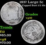 1837 Large 5c Capped Bust Half Dime 1/2 10c Grades vg+