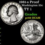 1981-s Proof Washington Quarter 25c Grades GEM++ Proof Deep Cameo