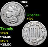 1866 Three Cent Copper Nickel 3cn Grades vf++