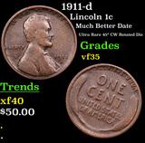 1911-d Lincoln Cent 1c Grades vf++
