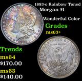 1883-o Rainbow Toned Morgan Dollar $1 Grades Select+ Unc