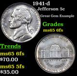 1941-d Jefferson Nickel 5c Grades GEM 6fs