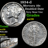 1934-d Mercury Dime 10c Grades Choice AU/BU Slider
