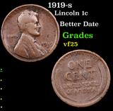 1919-s Lincoln Cent 1c Grades vf+