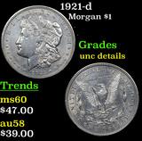 1921-d Morgan Dollar $1 Grades Unc Details