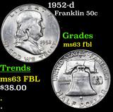 1952-d Franklin Half Dollar 50c Grades Select Unc FBL