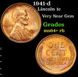 1941-d Lincoln Cent 1c Grades Choice+ Unc RB