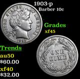 1903-p Barber Dime 10c Grades xf+