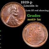 1929-p Lincoln Cent 1c Grades Select+ Unc BN