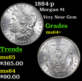 1884-p Morgan Dollar $1 Grades Choice+ Unc