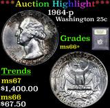 ***Auction Highlight*** 1964-p Washington Quarter 25c Graded GEM++ Unc By USCG (fc)