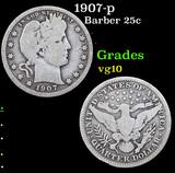 1907-p Barber Quarter 25c Grades vg+