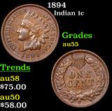 1894 Indian Cent 1c Grades Choice AU