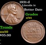 1931-d Lincoln Cent 1c Grades xf+