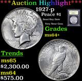 ***Auction Highlight*** 1927-p Peace Dollar $1 Graded Choice+ Unc By USCG (fc)