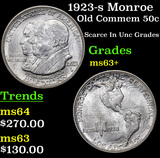 1923-s Monroe Old Commem Half Dollar 50c Grades Select+ Unc