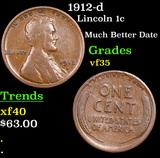 1912-d Lincoln Cent 1c Grades vf++
