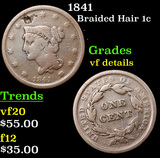 1841 Braided Hair Large Cent 1c Grades vf details