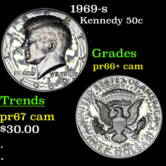 1969-s Kennedy Half Dollar 50c Grades GEM++ Proof Cameo