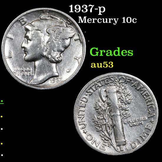 1937-p Mercury Dime 10c Grades Select AU