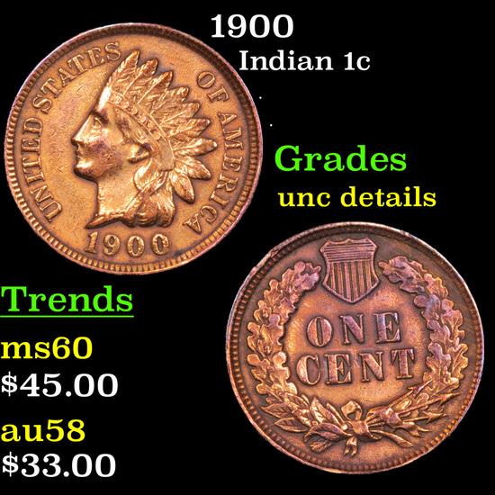 1900 Indian Cent 1c Grades Unc Details