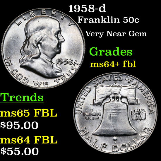 1958-d Franklin Half Dollar 50c Grades Choice Unc+ FBL