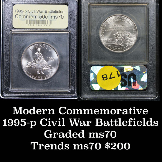 1995-s Civil War Modern Commem Half Dollar 50c Grades ms70, Perfection