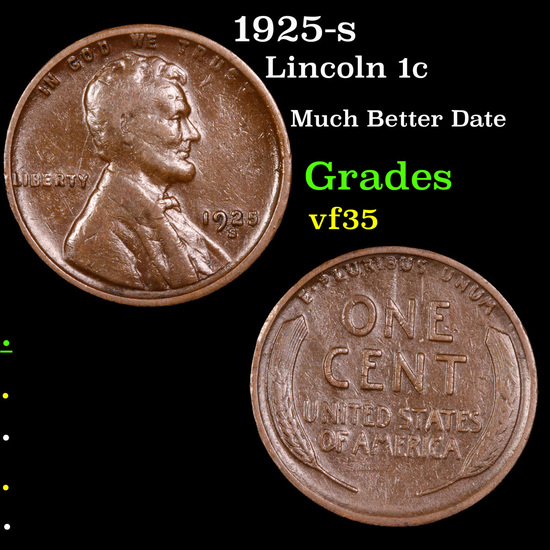 1925-s Lincoln Cent 1c Grades vf++