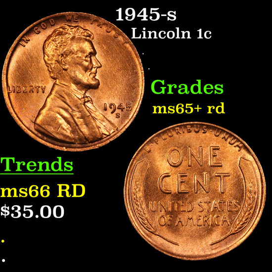 1945-s Lincoln Cent 1c Grades Gem+ Unc RD