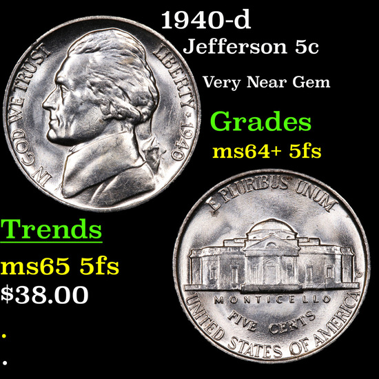 1940-d Jefferson Nickel 5c Grades Choice Unc+ 5fs