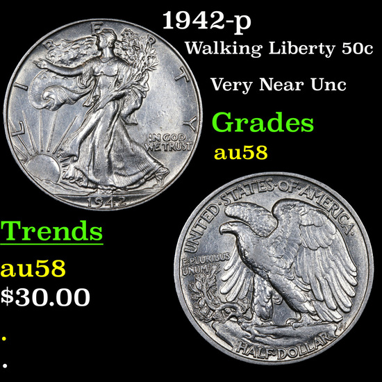 1942-p Walking Liberty Half Dollar 50c Grades Choice AU/BU Slider